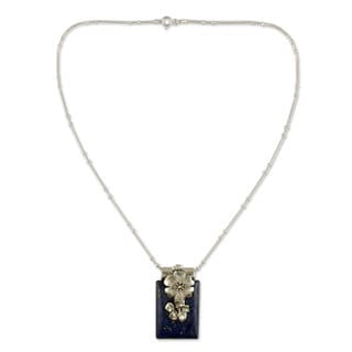 Handmade Sterling Silver 'Blue Lily' Lapis Lazuli Necklace (India)