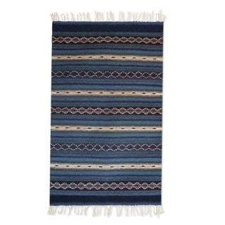 Zapotec Wool 'Magical Copalitilla Waterfall' Rug 2x3.5 (Mexico)