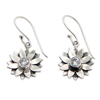 Handmade Sterling Silver 'April Daisy' Cubic Zirconia Earrings (Indonesia)