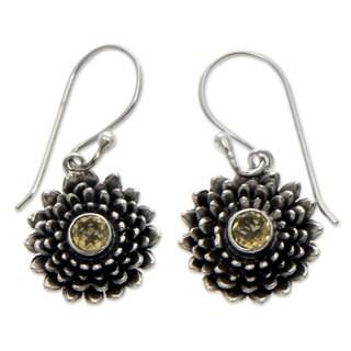 Sterling Silver 'November Chrysanthemum' Citrine Earrings (Indonesia)