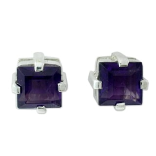 Handcrafted Sterling Silver 'India Charm' Amethyst Earrings (India)