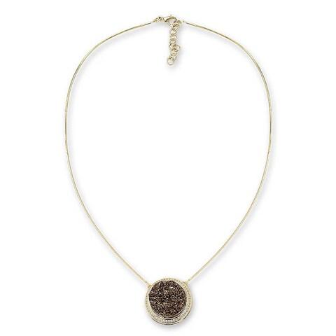 Handmade Gold Overlay 'Bronze Moon' Agate Necklace (Brazil)