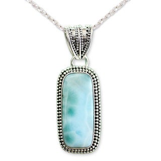 Handcrafted Sterling Silver 'Serene Sea' Larimar Necklace (India)