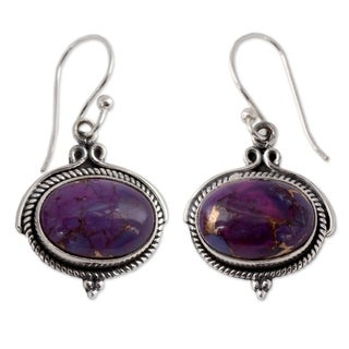 Handcrafted Sterling Silver 'Royal Purple' Turquoise Earrings (India)