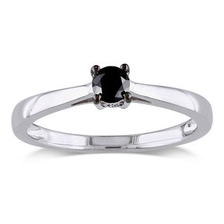 Miadora Sterling Silver 1/4ct TDW Black Diamond Solitaire Ring