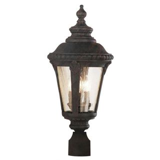 Cambridge Black Copper Finish Outdoor Post Head With A Seeded Shade