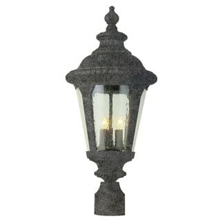 Cambridge Swedish Iron Finish Outdoor Post Head With A Seeded Shade