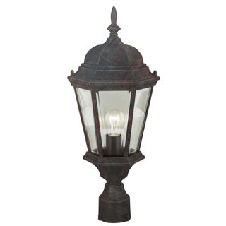 Cambridge Black Copper Finish Outdoor Post Head With A Beveled Shade