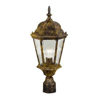 Cambridge Black Gold Finish Outdoor Post Head With A Beveled Shade