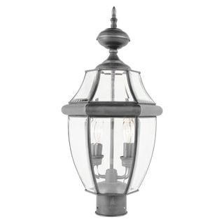 Cambridge Brushed Nickel Finish Outdoor Post Head With A Beveled Shade