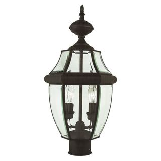 Cambridge Weathered Bronze Finish Outdoor Post Head With A Beveled Shade