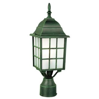 Cambridge Verde Green Finish Outdoor Post Head With A Frosted Shade