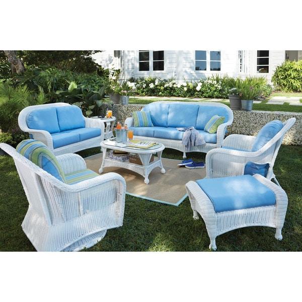 Art Van Wyndham Sofa White Blue Free Shipping Today 10038224