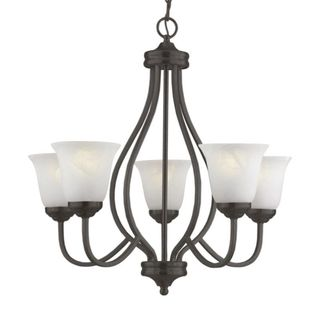 Cambridge 5-Light Antique Bronze 25.75 in. Chandelier with White Glass
