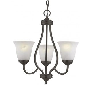 Cambridge 3-Light Antique Bronze 20 in. Chandelier with White Glass