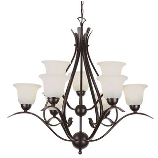 Cambridge 9-Light Rubbed Oil Bronze 35 in. Chandelier with White Glass