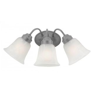Cambridge 3-Light Brushed Nickel 10 in. Bath Vanity with White Glass