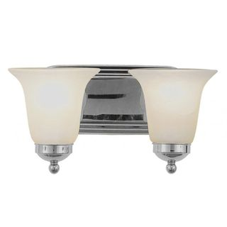 Cambridge 2-Light Brushed Nickel 7 in. Bath Vanity with White Glass