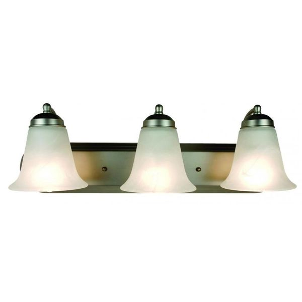 Cambridge 3-Light Brushed Nickel 24 in. Bath Vanity with White Glass