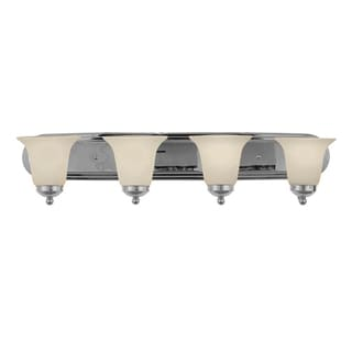 Cambridge 4-Light Brushed Nickel 30 in. Bath Vanity with White Glass