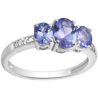 Divina Silvertone Tanzanite and Diamond Accent Ring - Blue