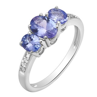 Divina Silvertone Tanzanite and Diamond Accent Ring - Blue