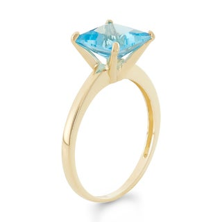 10k Yellow Gold Princess-cut Birthstone Ring (More options available)