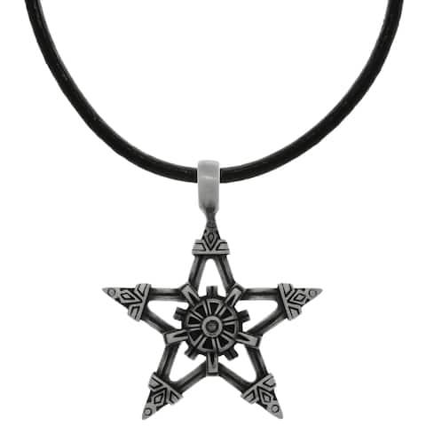 Pewter Viking Star Pendant on Black Leather Necklace