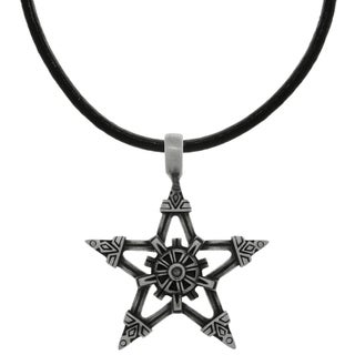 Pewter Viking Star Pendant on Black Leather Necklace