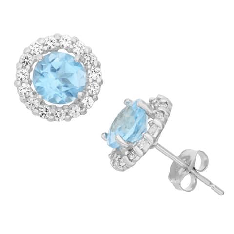 Gioelli 10k Gemstone and Created White Sapphire Halo Earrings