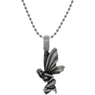 Carolina Glamour Collection Pewter Fairy Wings Pendant on Steel Ball Chain Necklace