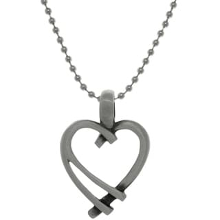 Carolina Glamour Collection Pewter Modern Open Heart Pendant on Steel Ball Chain Necklace