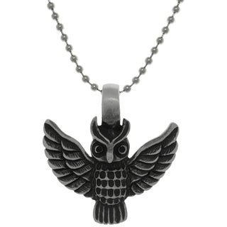 Pewter Barn Owl Pendant on Steel Ball Chain Necklace