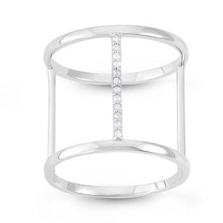 Sterling Silver Cubic Zirconia H-shaped Fashion Ring
