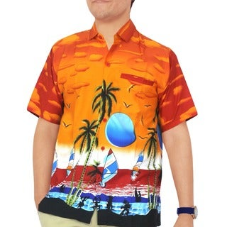 La Leela Orange Likre Sunset Aloha Surf Beach Men's Hawaiian Shirt Swim Camp