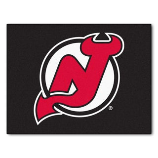 Fanmats Machine-Made New Jersey Devils Black Nylon Allstar Rug (2'8 x 3'8)