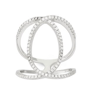 Sterling Silver Cubic Zirconia Double-C Shaped Fashion Ring