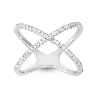 Sterling Silver Cubic Zirconia X-shaped Ring