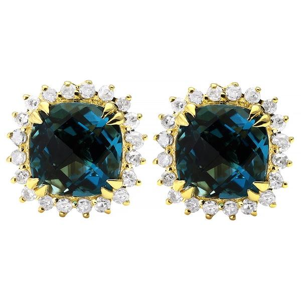 10k Yellow Gold Blue Topaz 1/6ct TDW Diamond Halo Stud Earrings (H-I, I2-I3)
