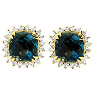10k Yellow Gold Blue Topaz 1/6ct TDW Diamond Halo Stud Earrings (H-I, I2-I3)
