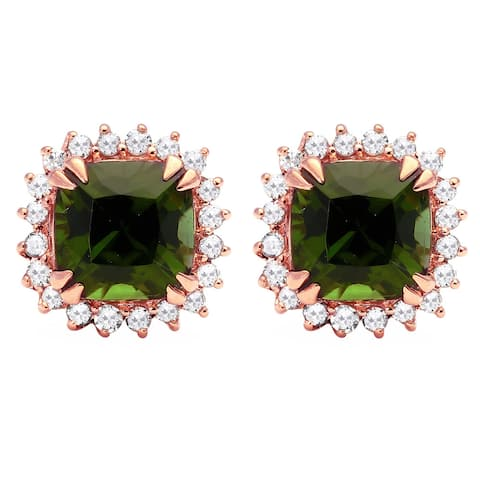 10k Gold Green Tourmaline 1/6ct TDW Diamond Halo Earrings (H-I, I2-I3)
