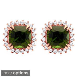 Beverly Hills Charm 10k Gold Green Tourmaline 1/6ct TDW Diamond Halo Earrings (H-I, I2-I3)