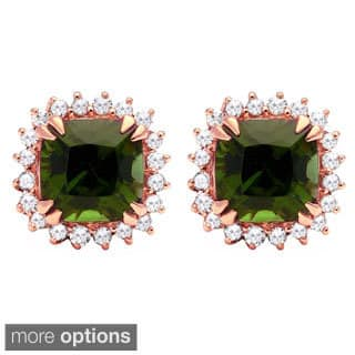 10k Gold Green Tourmaline 1/6ct TDW Diamond Halo Earrings (H-I, I2-I3)|https://ak1.ostkcdn.com/images/products/10039087/P17184068.jpg?impolicy=medium