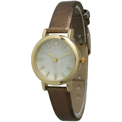 Olivia Pratt Women's Petite Metallic Leather Strap Watch
