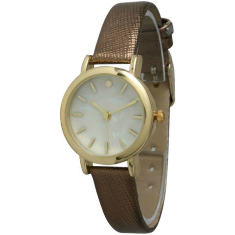 Olivia Pratt Women's Petite Metallic Leather Strap Watch