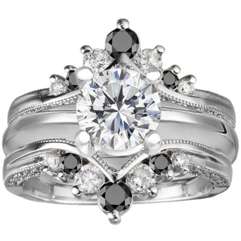 TwoBirch Sterling Silver Black and White Cubic Zirconia Solitaire and Ring Guard Set