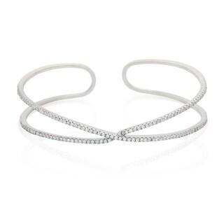Sterling Silver Cubic Zirconia Cuff Line Bangle