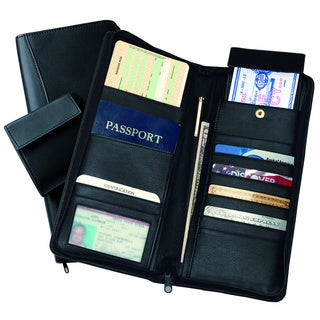 Royce Black Leather Executive Zippered Travel Document and Passport Case