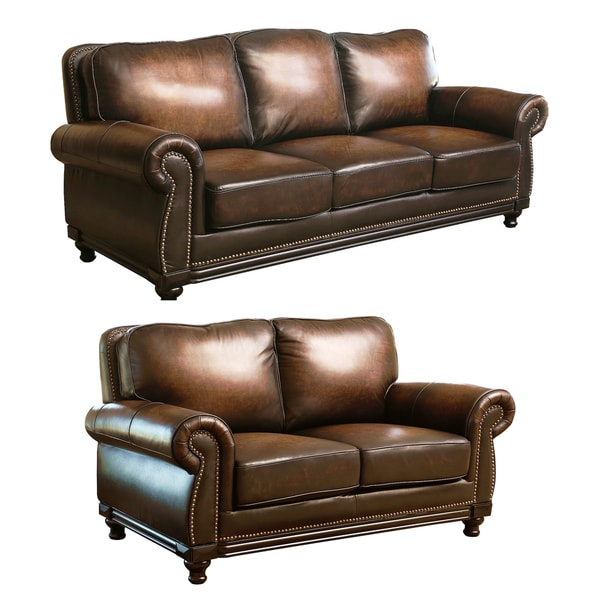 3 2 leather sofa deals - Abbyson Living Palermo Hand Rubbed Brown Leather Sofa And Loveseat Set
