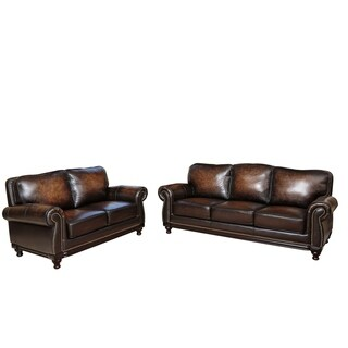 Abbyson Palermo Hand-rubbed Brown Leather Sofa and Loveseat Set